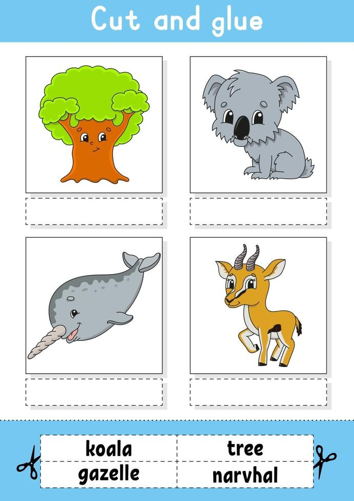 schneiden und Kleben. Spiel für Kinder. lerne englische Wörter. Arbeitsblatt zur Entwicklung von Bildung. Farbaktivitätsseite. Zeichentrickfigur. vektor
