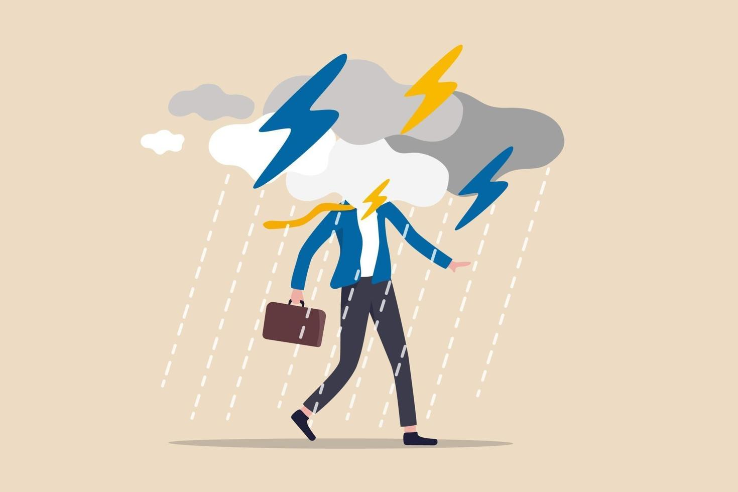 affärsproblem, hinder eller risk att övervinna och lyckas, försäkring eller katastrof och katastrof affärsdag koncept, deprimerad affärsman som går med molnigt åskväder och regnigt runt ansiktet vektor