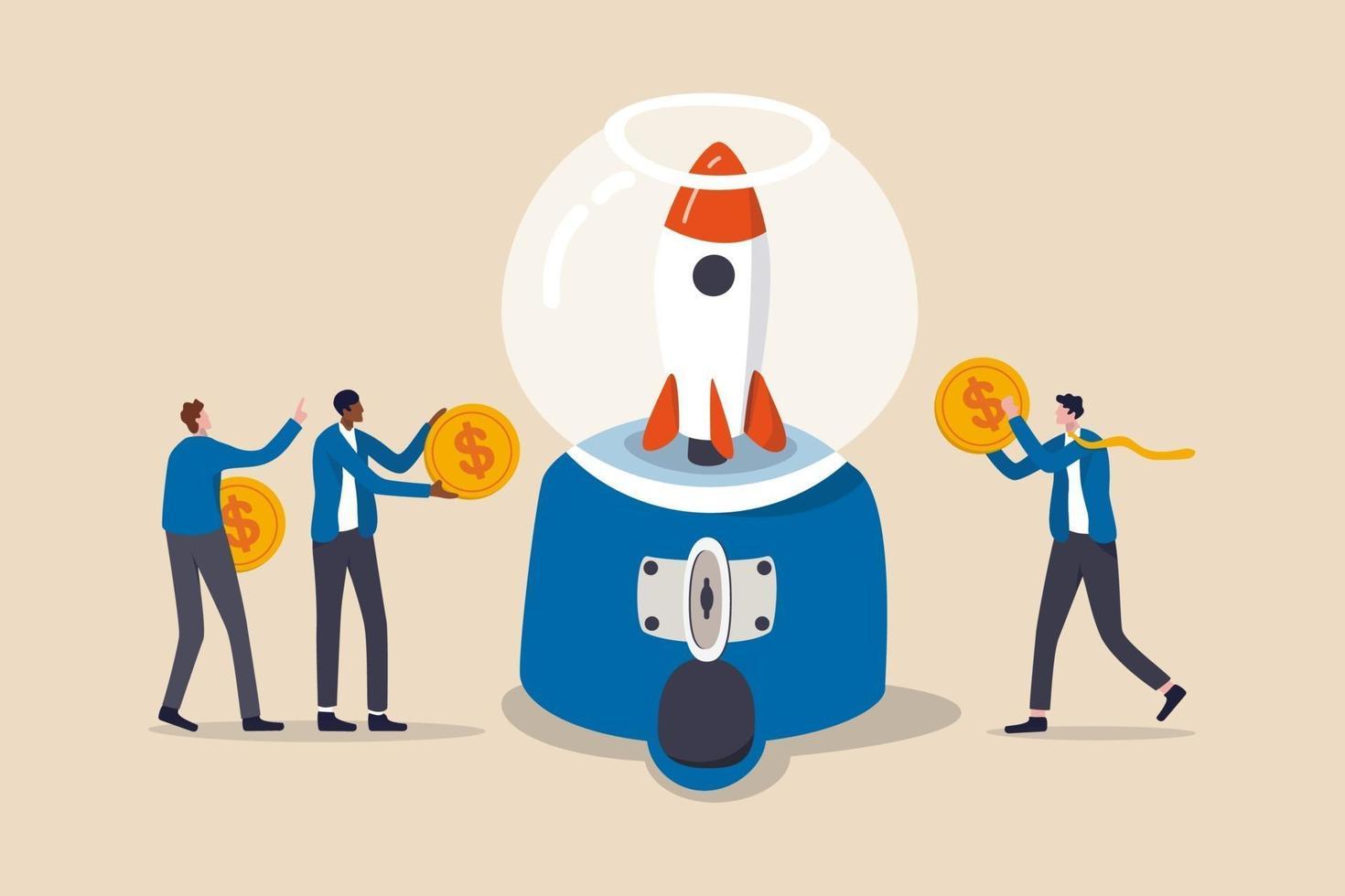 fundraising, samla in pengar för att starta projekt eller människor bidrar med budget och ekonomiskt stödkoncept, människor affärsmän som håller dollarpengmynt för att bidra i gumballmaskin för att starta raket. vektor