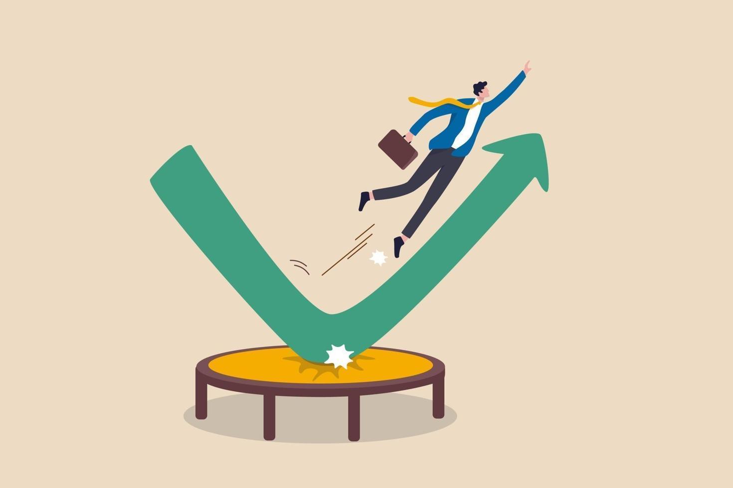 aktiemarknaden återhämtar sig, övervinner affärer ner faller och växer upp vinst eller ledarskap och prestationskoncept, affärsman hoppar studsande högt på studsmatta med grönt stigande upp prestanda pildiagram. vektor