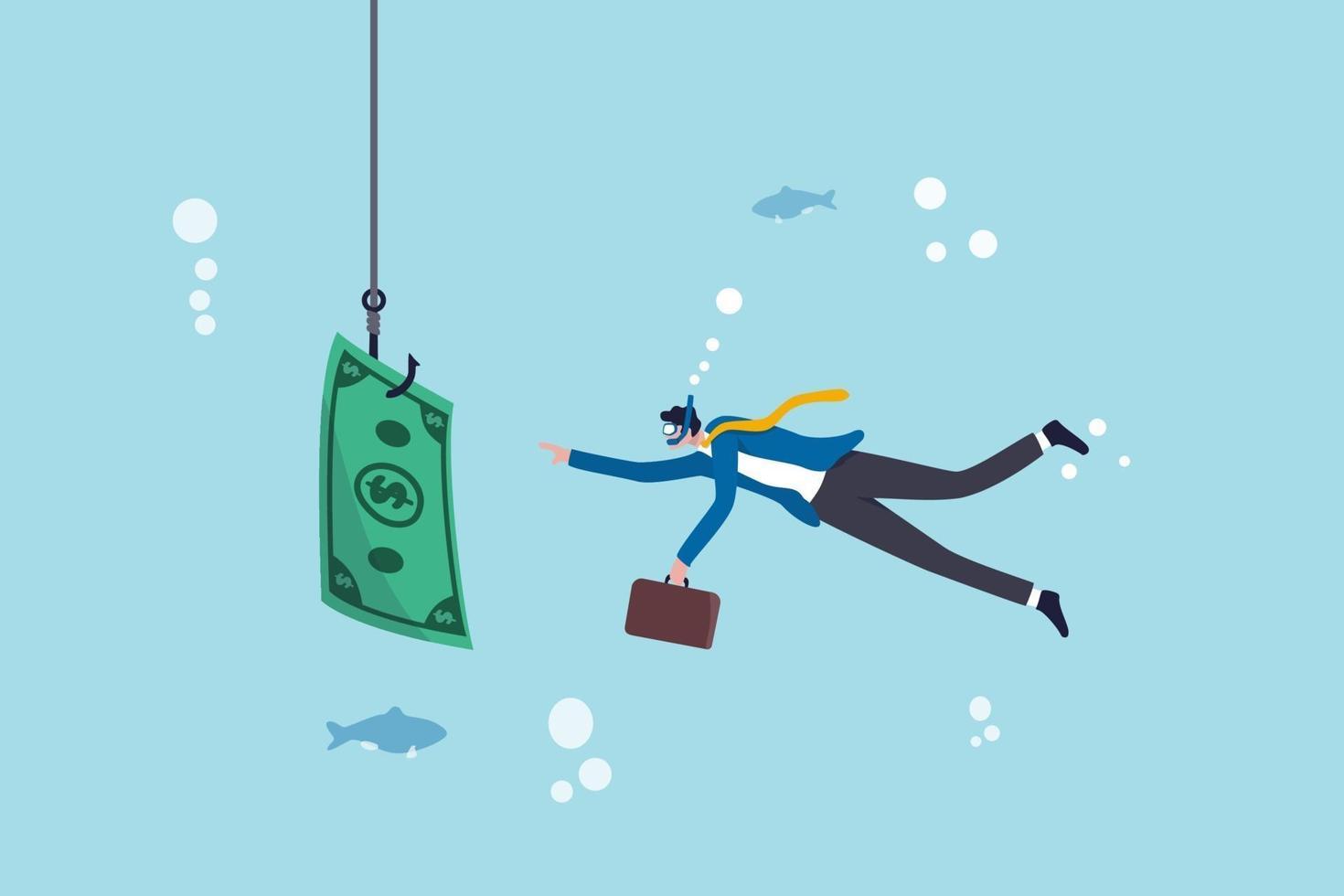 investeringsrisk eller penningfälla, affärsbedrägeri och fusk eller finansiell fallgrop och misstagskoncept, affärsmannen dyker in i affärshavet tar ett bete till kroken som fiskar med pengarsedlar. vektor