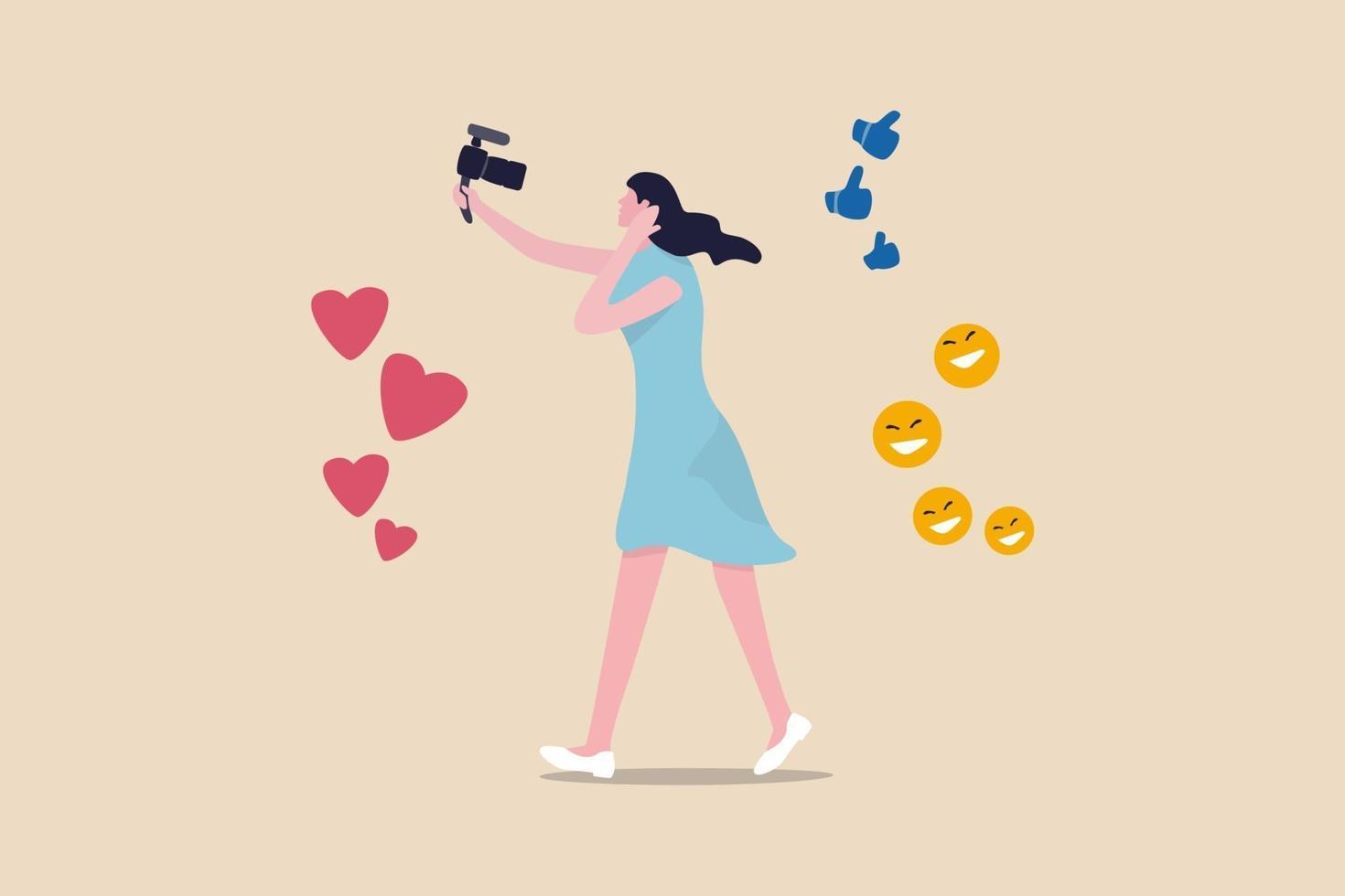 bloggare, vlog, influencer nya digitala tidsåldrar sänder eller spelar in sin livsstil för att främja berättelse på sociala mediekoncept, vacker ung damflicka som håller kameran med kärlek, liknande och lyckligt tecken. vektor