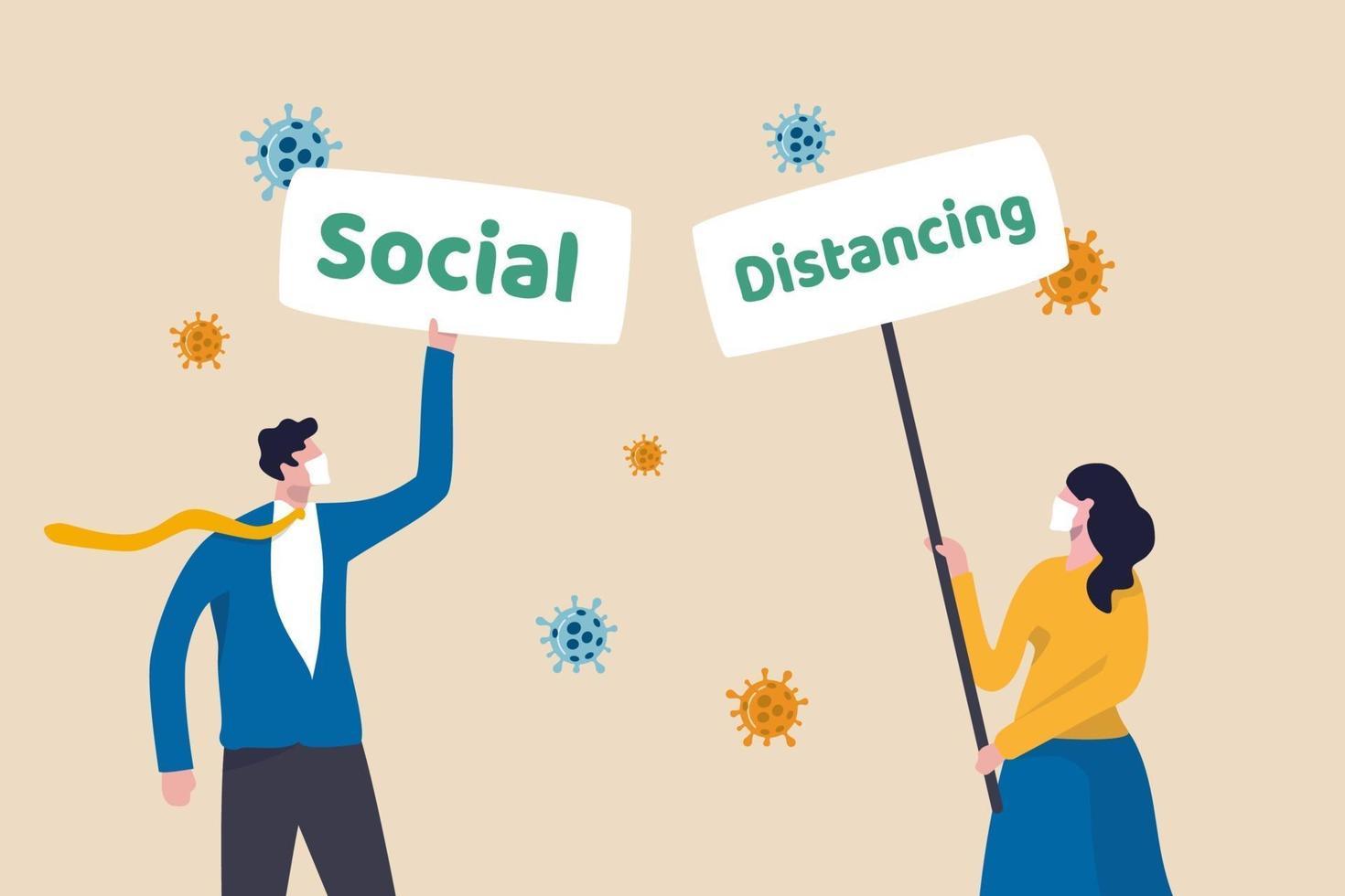 socialt distanserande tecken i coronavirus covid-19 utbrott för att hålla avstånd för att förhindra sjukdomskonceptet, människor som bär ansiktsmask håller skylt med ordet socialt och distanserar med viruspatogen. vektor