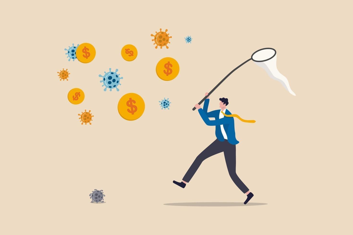 investera i koronavirusutbrott, företag och företag för att tjäna pengar och överleva i covid-19-ekonomikriskoncept, affärsmaninvesterare riskerar att springa i covid-19-patogen för att fånga dollarmyntpengar. vektor