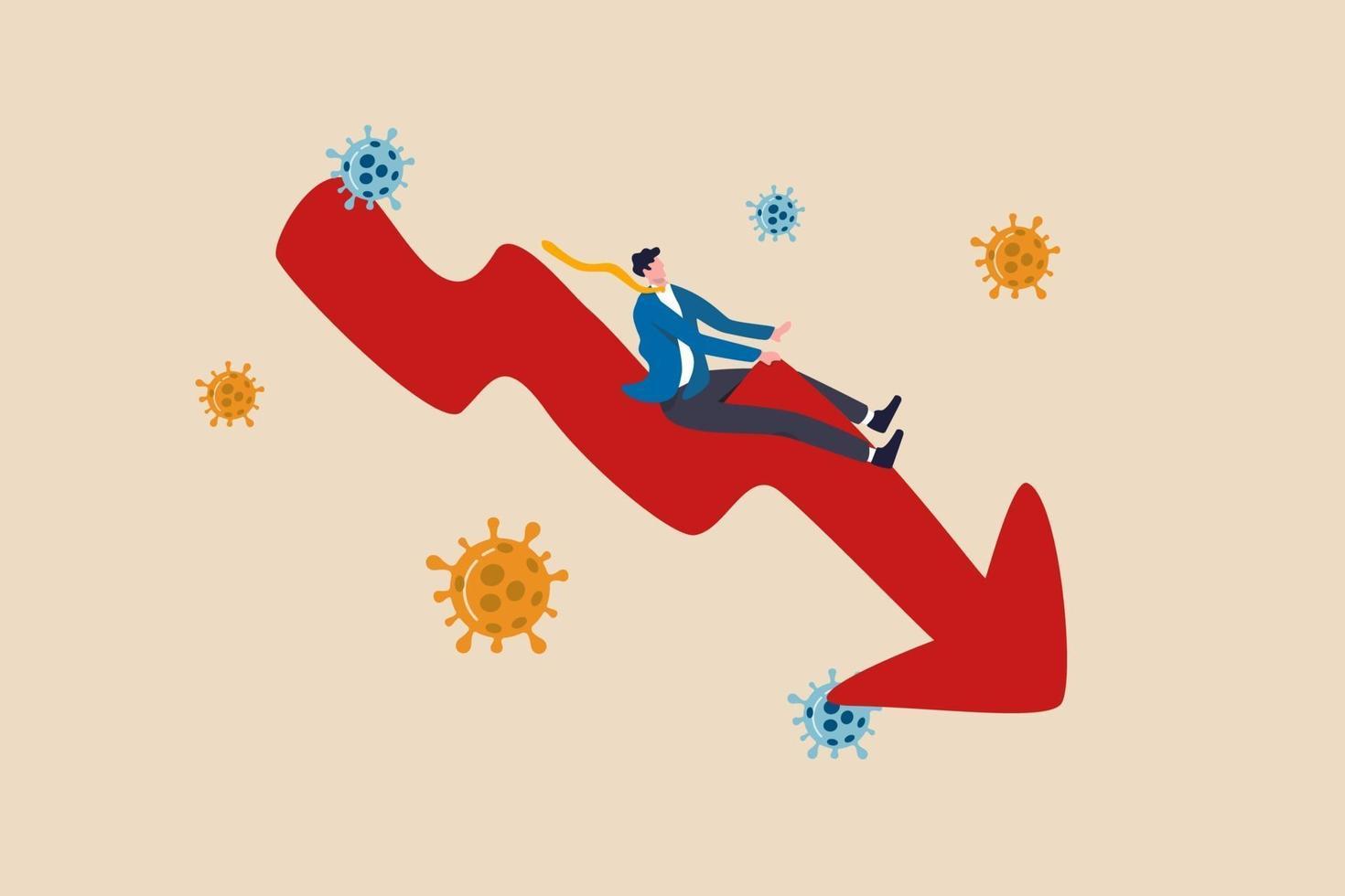 aktiemarknadsdykning, konkurs eller ekonomisk lågkonjunktur på grund av coronavirusutbrottet covid-19 pandemikoncept, deprimerad affärsman som rider ner sväng röd pil ekonomidiagram med viruspatogen vektor