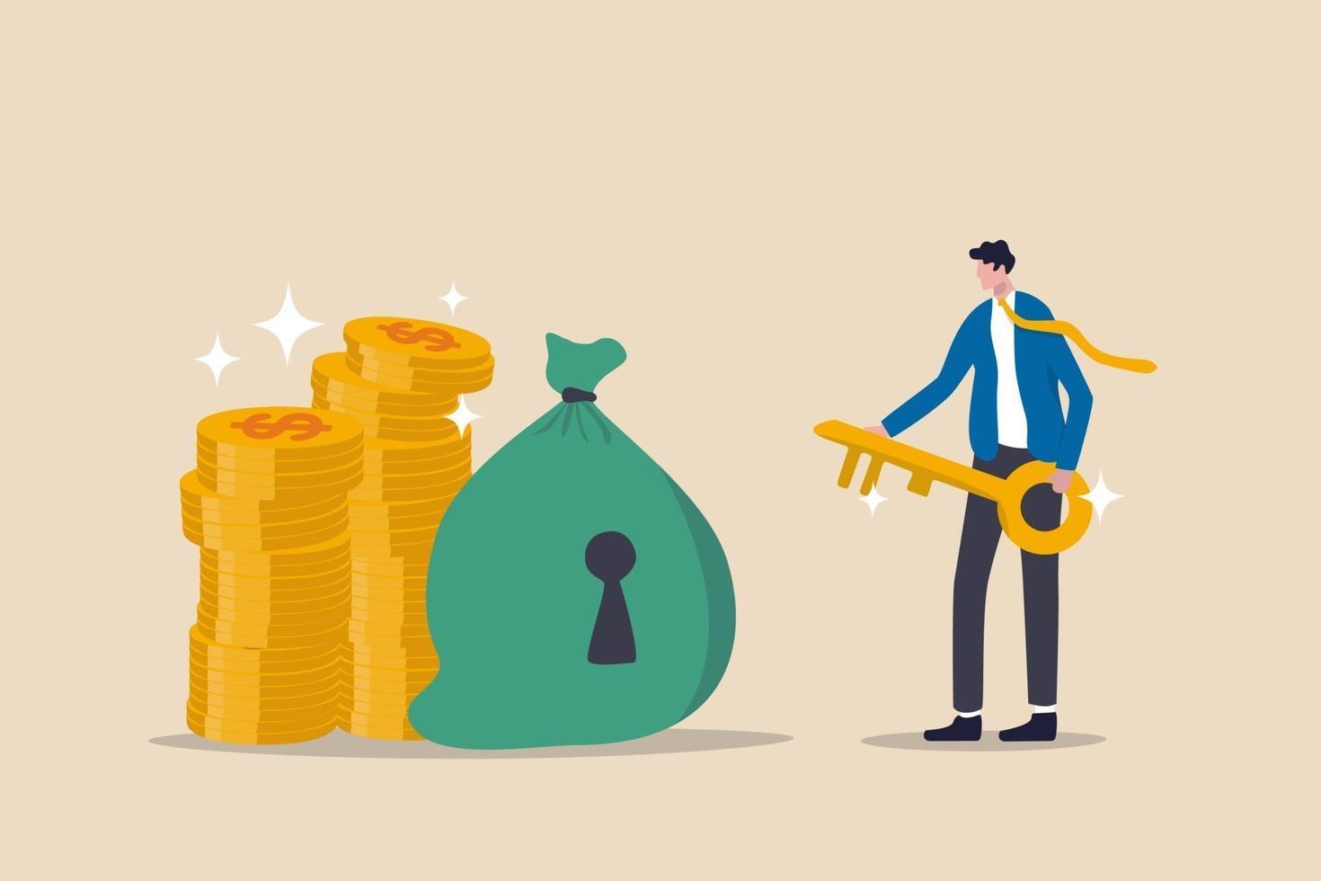 finansiell nyckel framgång, säker tillflyktsort för investeringar eller kapitalförvaltare att hantera pengar koncept, framgång affärsman finans rådgivare håller gyllene nyckel för pengar väska med nyckelhål och guld pengar mynt stack vektor
