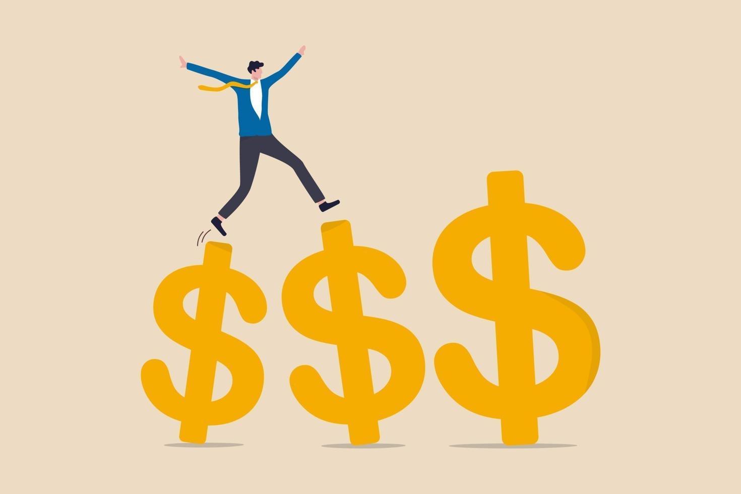 tillväxt som tjänar investeringar, ökar inkomster och bonus i karriär eller framgång i finansiell affärsidé, affärsman professionell chef som går och hoppar på tillväxt gyllene dollartecken. vektor
