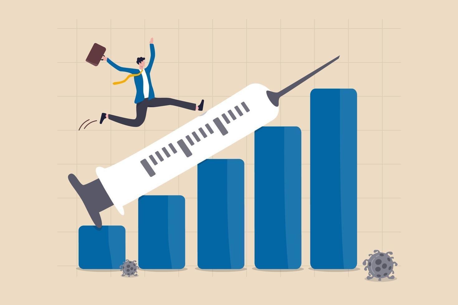finansiell och ekonomisk kris återhämtar sig från covid-19 kollaps med coronavirus vaccin upptäckt koncept, affärsman investerare glad kör på spruta pekar uppåt på tillväxt vinst finansiella stapeldiagram. vektor