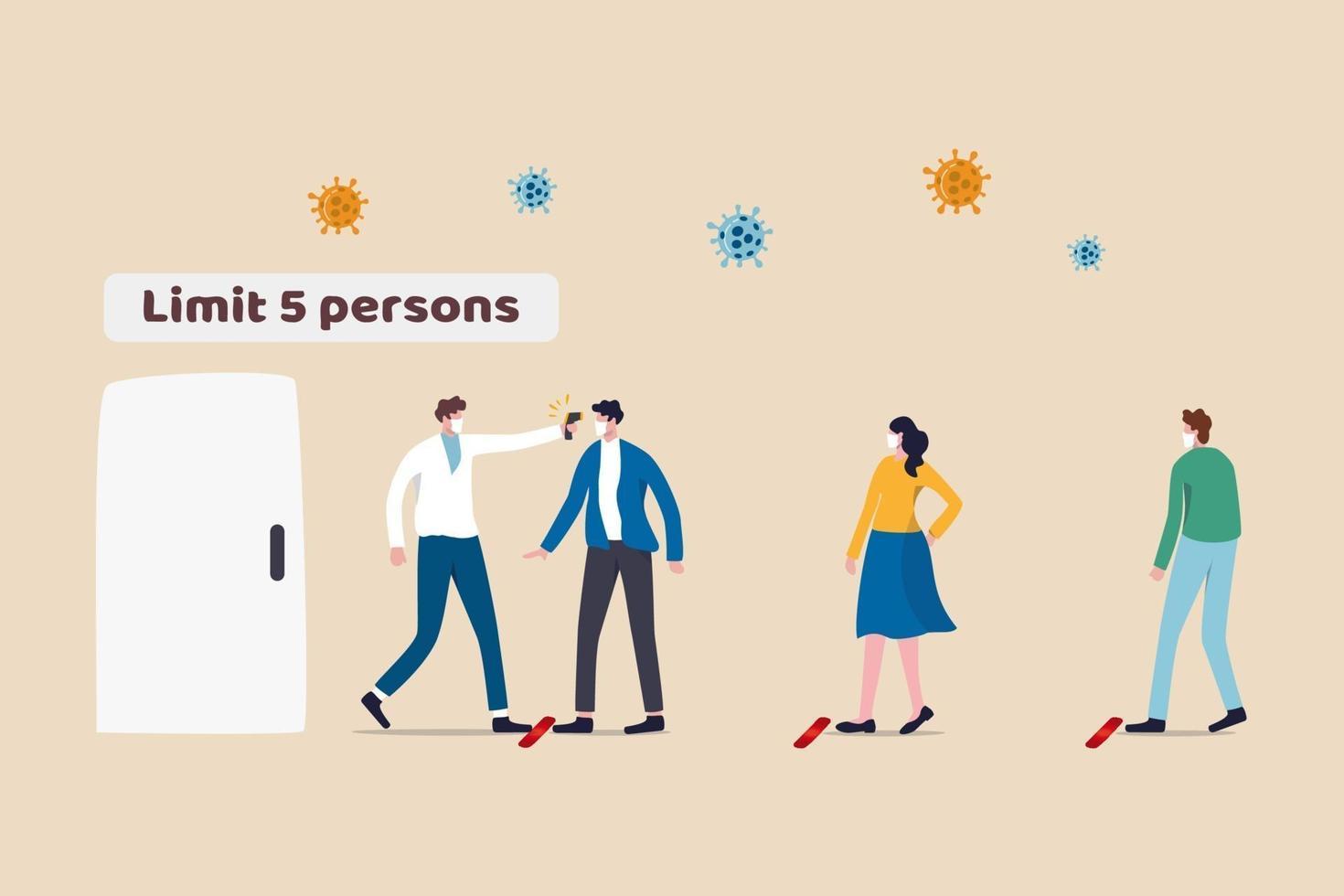 ny normal social distanserande livsstil i covid-19 coronavirus-eran, människor som bär ansiktsmask väntar i kö håller avståndet bort och kontrollerar kroppstemperaturen innan de går in i butiken och begränsar människorna inne vektor