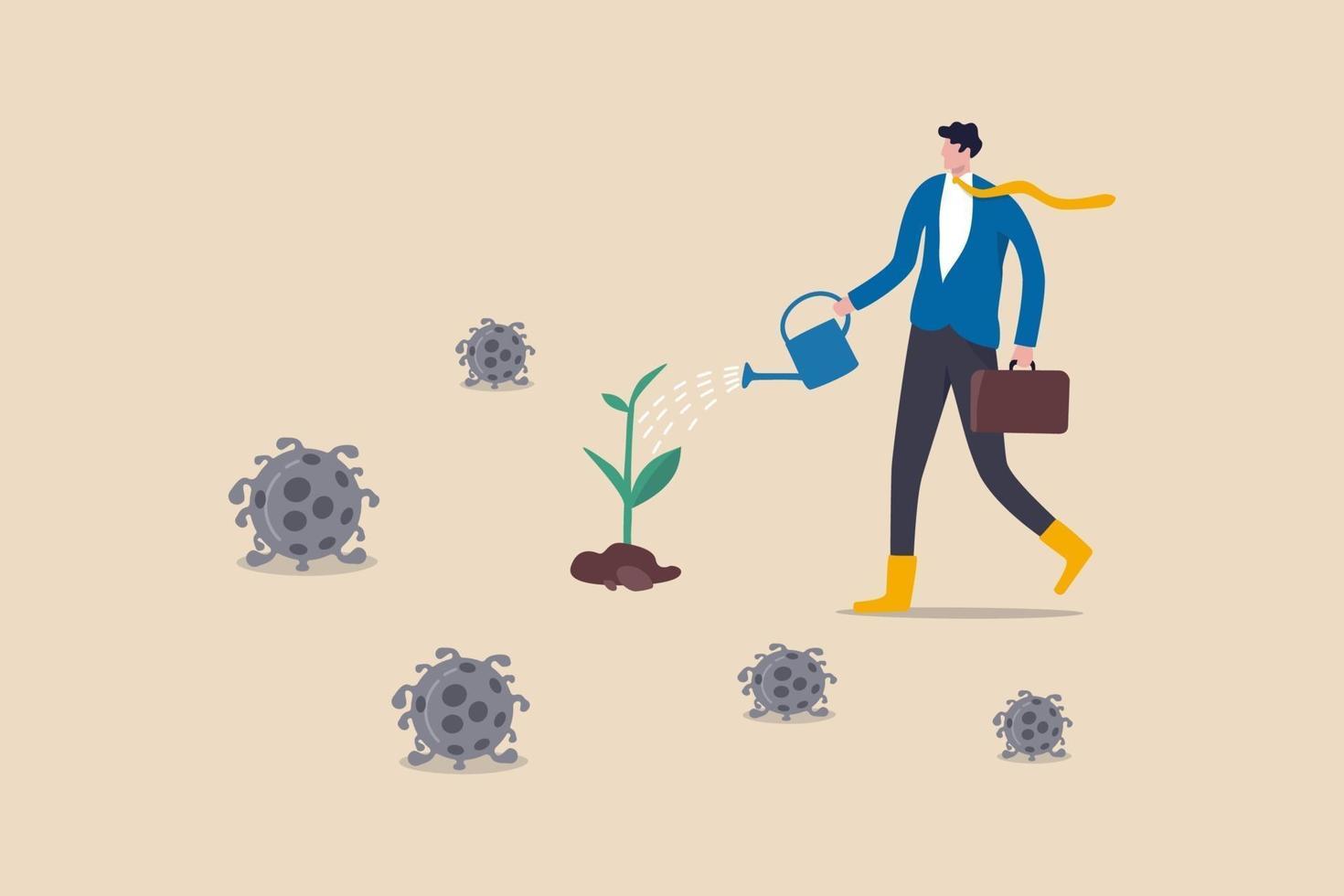 ekonomisk återställning efter koronavirus covid-19 kris, postpandemi era regeringens politik för att hjälpa företag återhämta koncept, affärsman vattna plantor med dödsvirus patogen. vektor