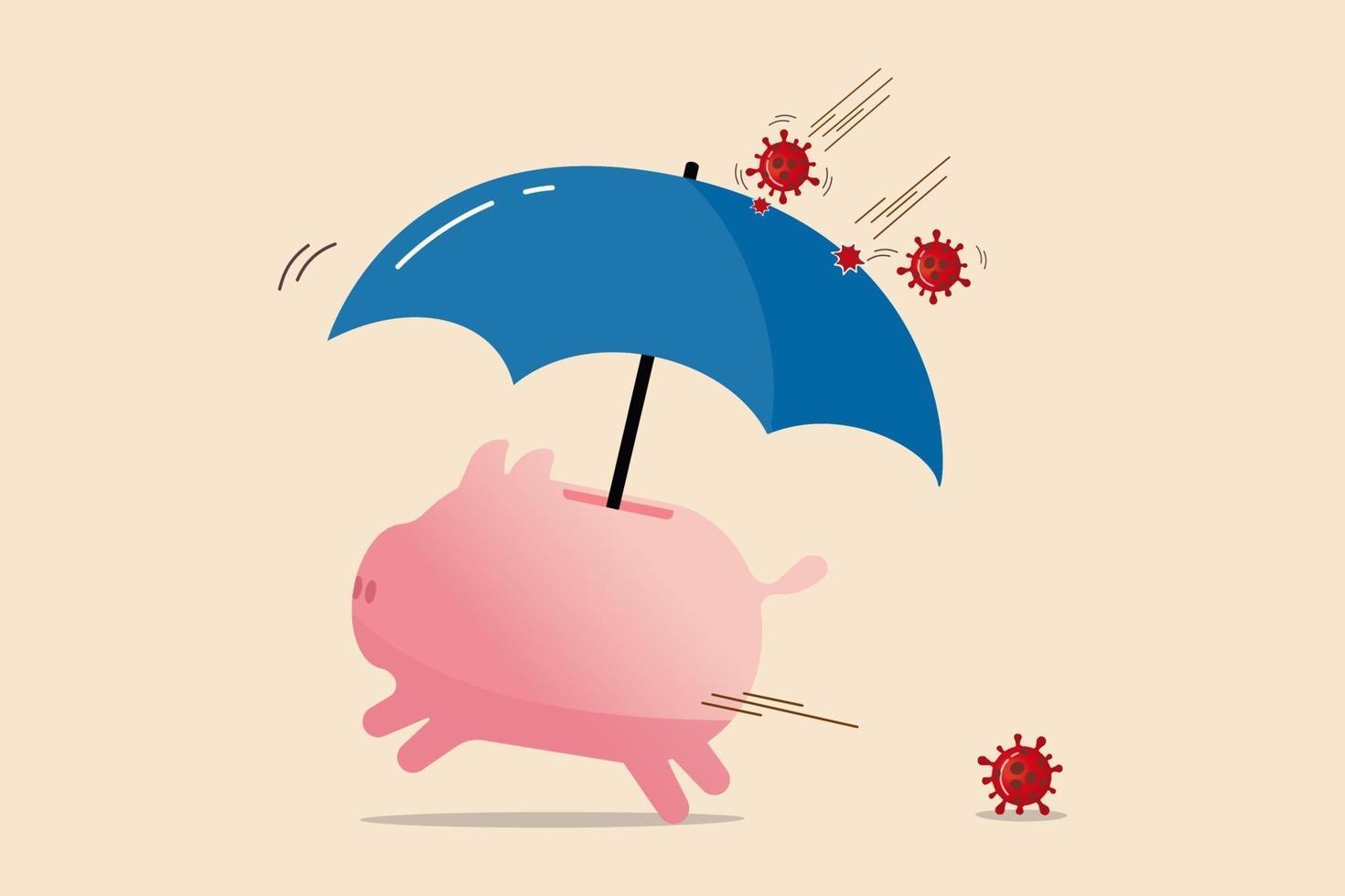 covid-19 sjukdomsskydd, koronavirusförsäkring eller ekonomisk och investeringssäkerhet i koronaviruspandemikrisbegrepp, spargris med skyddsparaply för att skydda mot viruspatogenpåverkan. vektor
