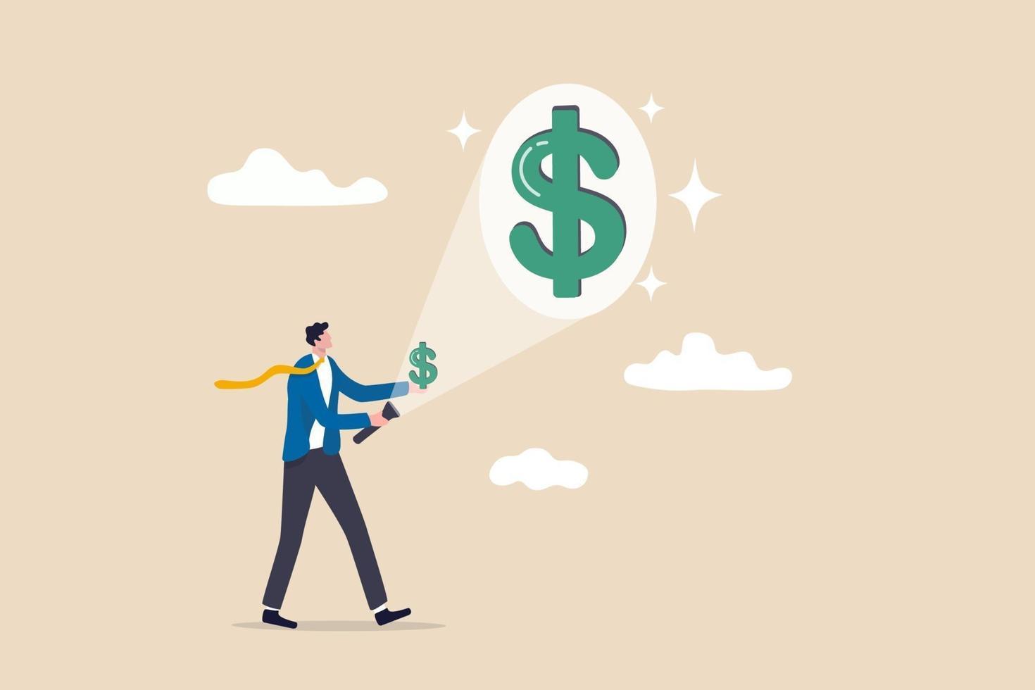 tjäna pengar eller öka intäkterna från investering, lön eller inkomstökning, lönsamhetskoncept, affärsmaninvesterare som använder ficklampa syftar till liten dollar i handen och projicerar stora dollartecken vektor