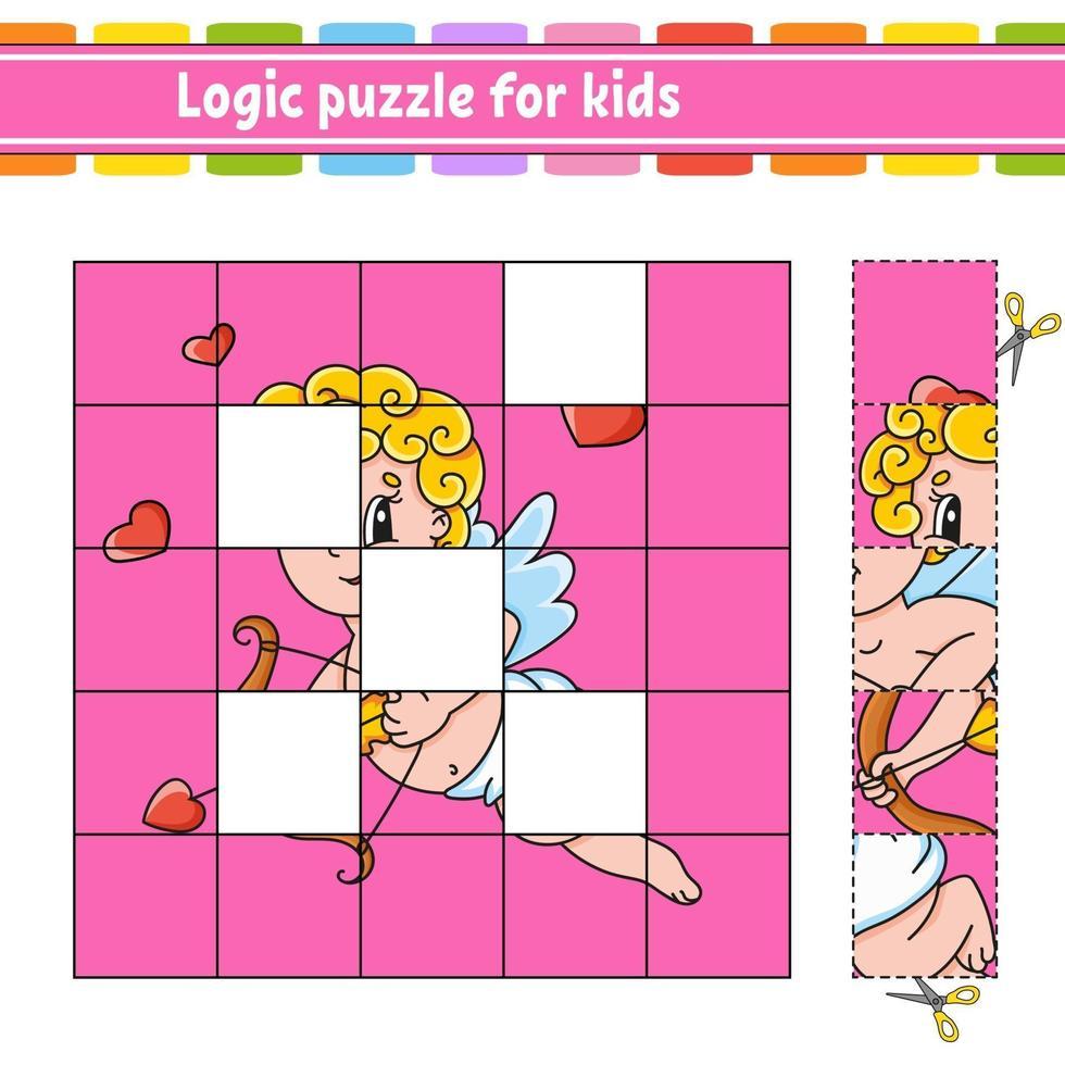 logikpussel för barn. utbildning utveckla kalkylblad. lärande spel för barn. aktivitetssida. enkel platt isolerad vektorillustration i söt tecknad stil. vektor