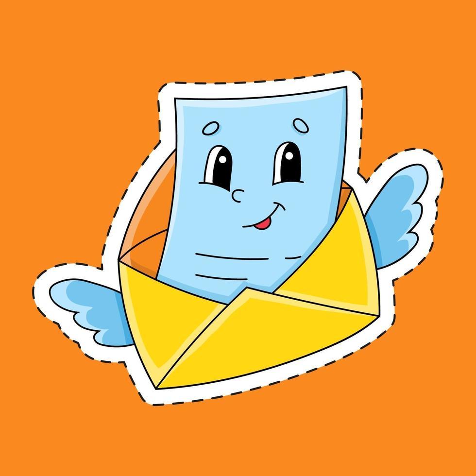 klistermärke med konturbokstav. tecknad figur. färgglada vektorillustration. isolerad på färgbakgrund. mall för din design. vektor