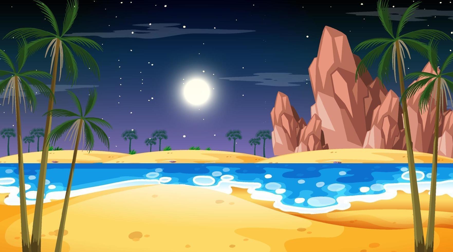 tropiskt strandlandskap på nattscenen vektor