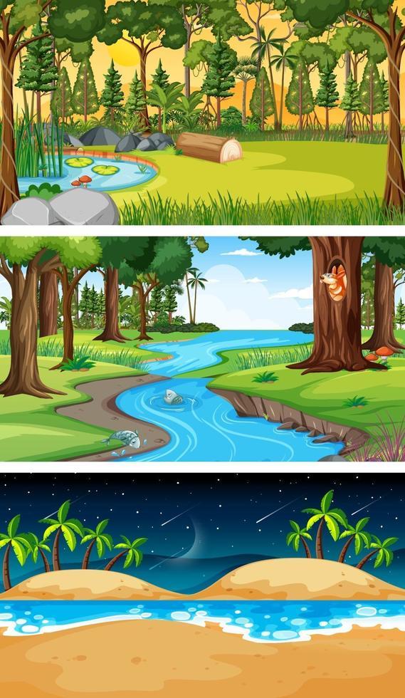 uppsättning olika typer av skogens horisontella scener vektor