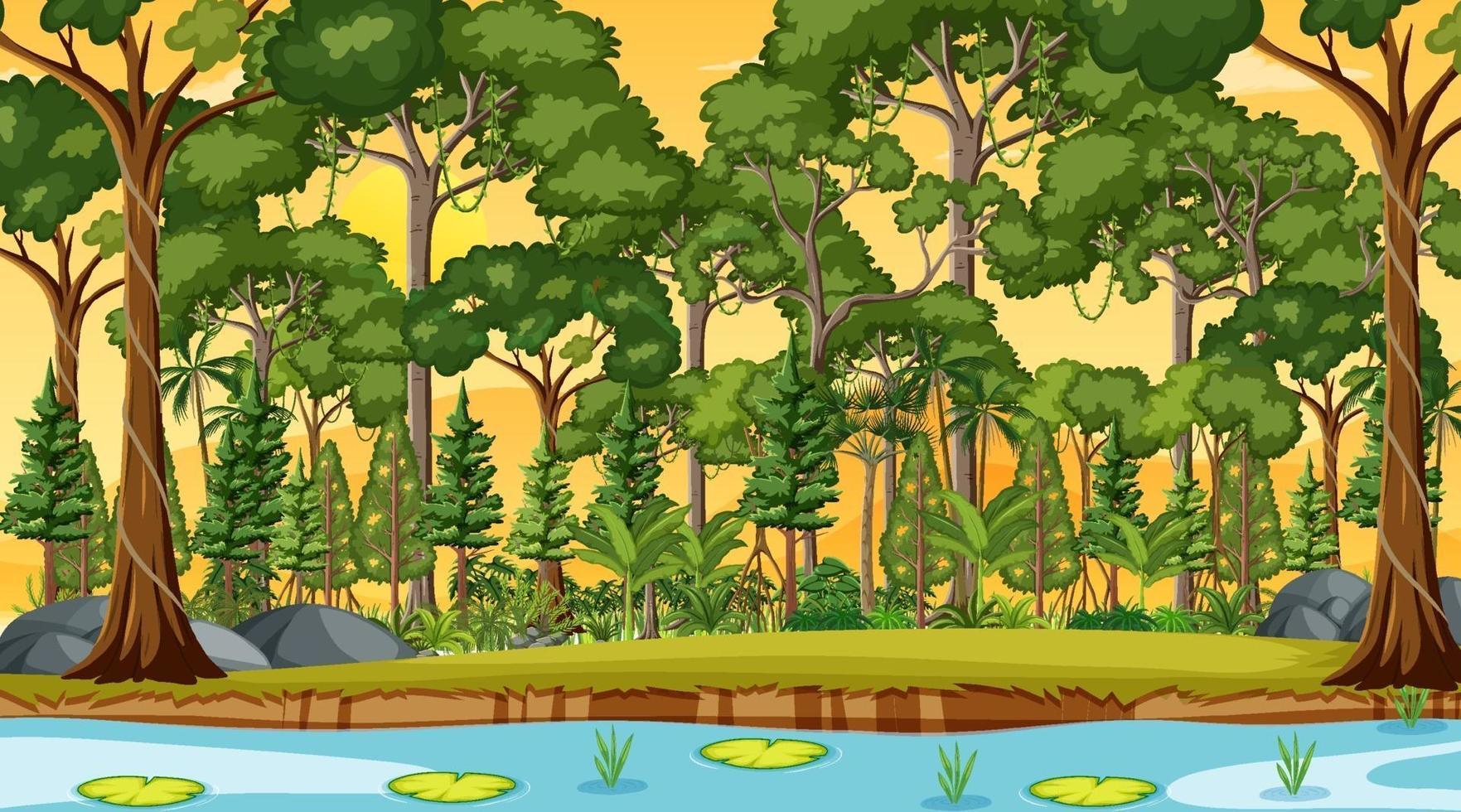 flod längs skogscenen vid solnedgången vektor