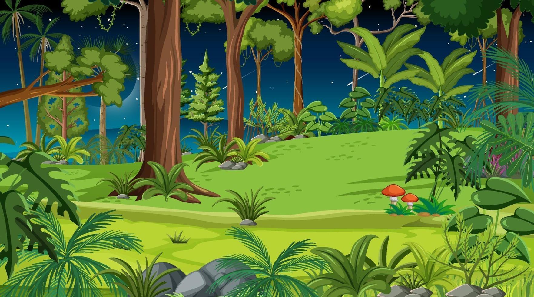 skog landskap scen på natten med många olika träd vektor
