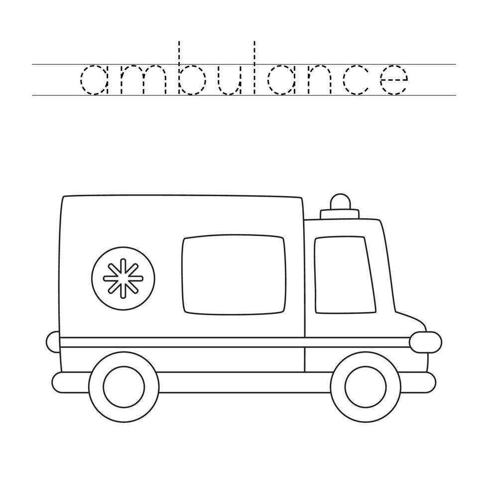 spåra bokstäver med tecknad ambulansbil. skrivpraxis. vektor