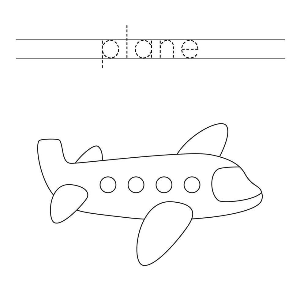 Verfolgung von Buchstaben mit Cartoon-Flugzeug. Schreiberfahrung. vektor