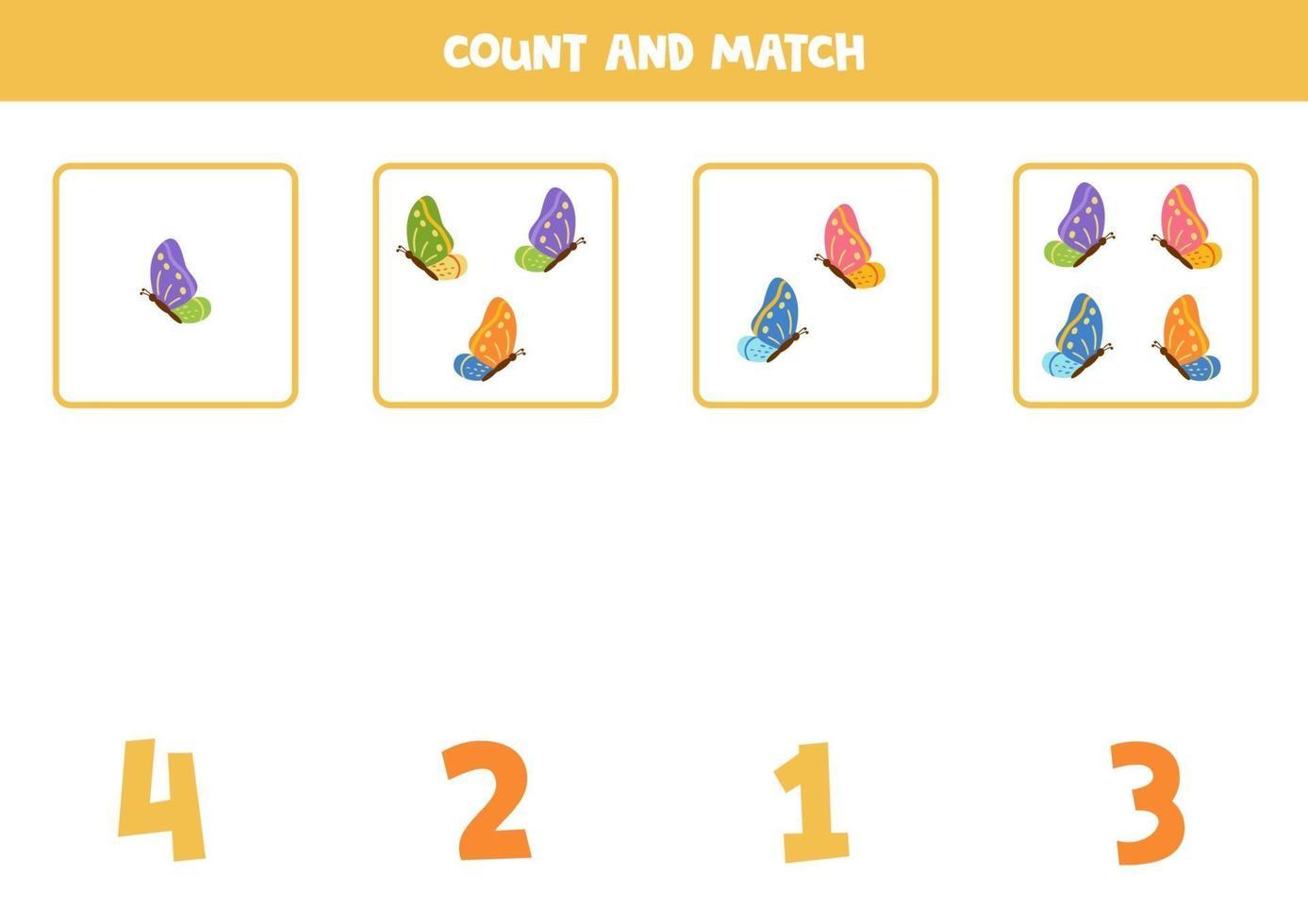 räkna spel med fjärilar. matematik kalkylblad. vektor