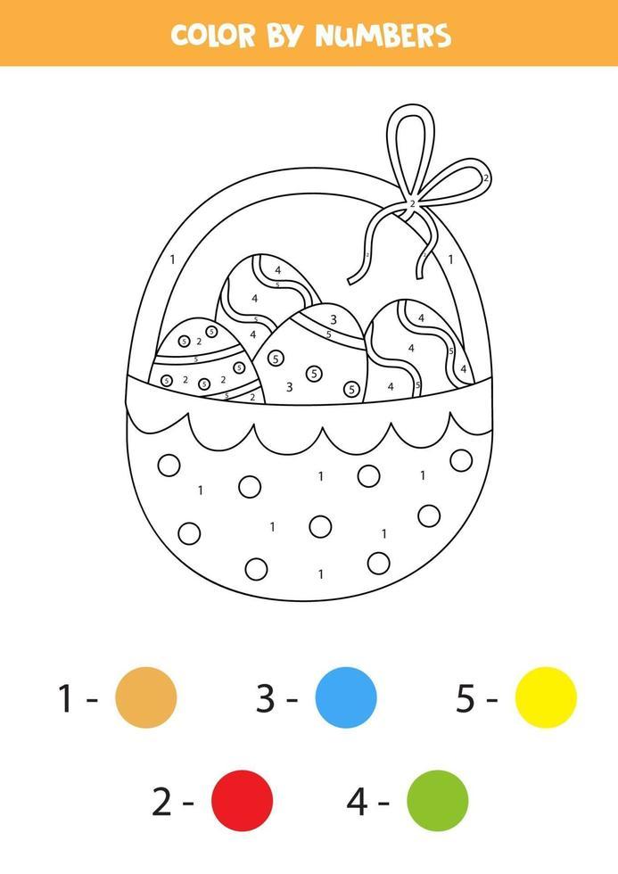 färg påsk korg efter siffror. transport kalkylblad. vektor