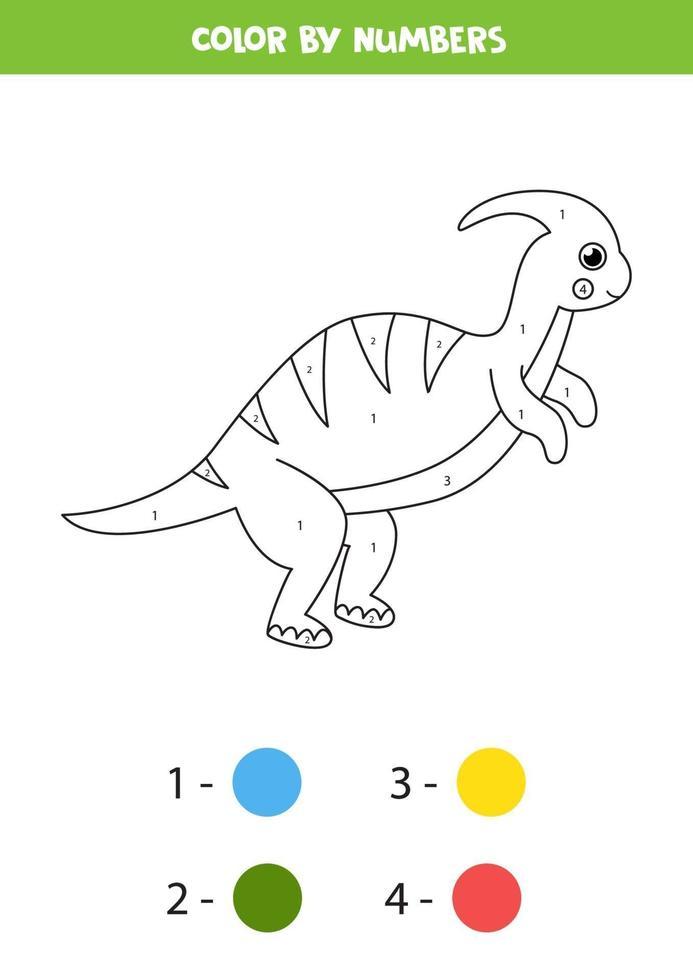 färg söt tecknad dinosaurie med siffror. vektor