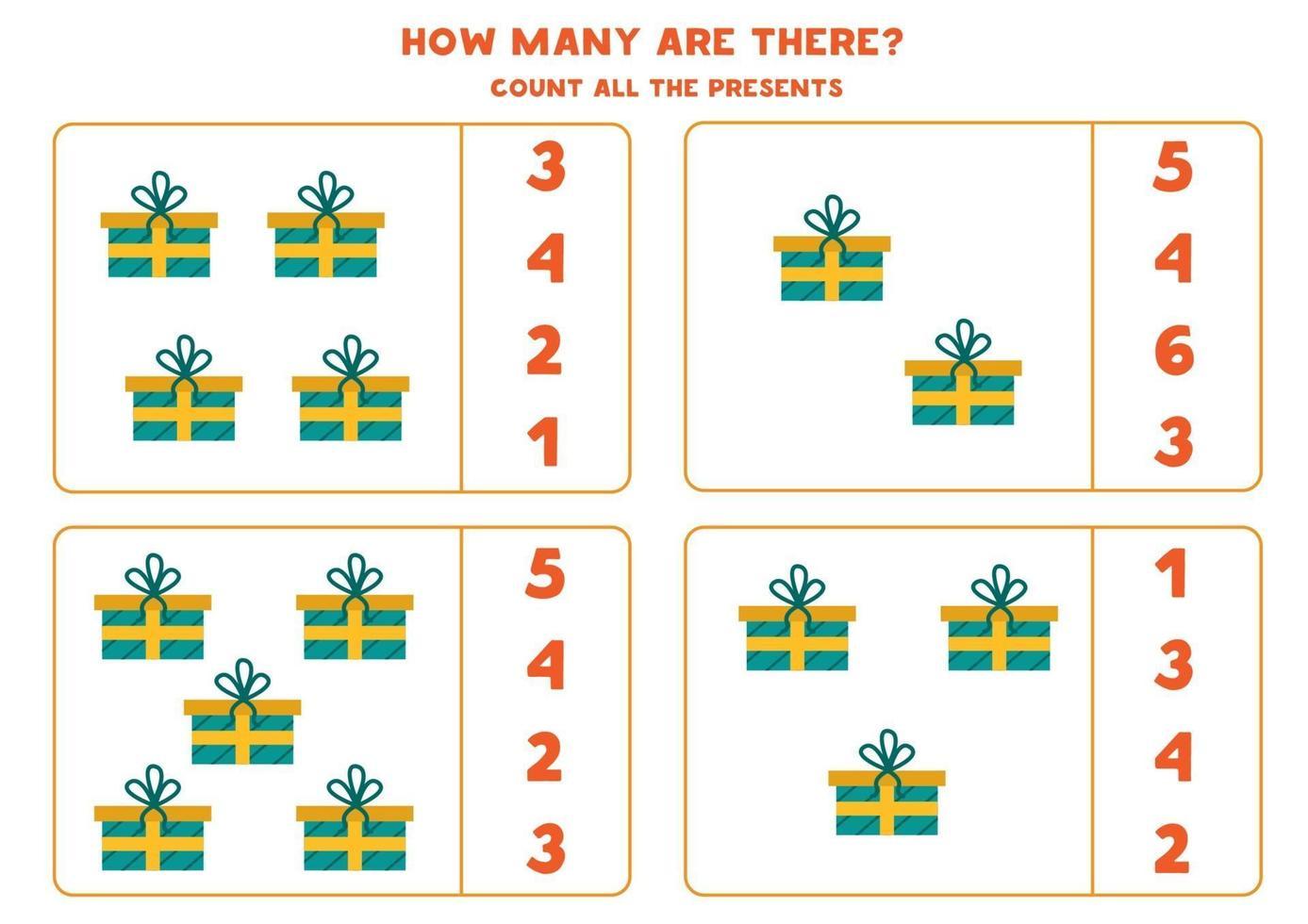 räknar matematikspel med färgglada tecknade julklappar. vektor
