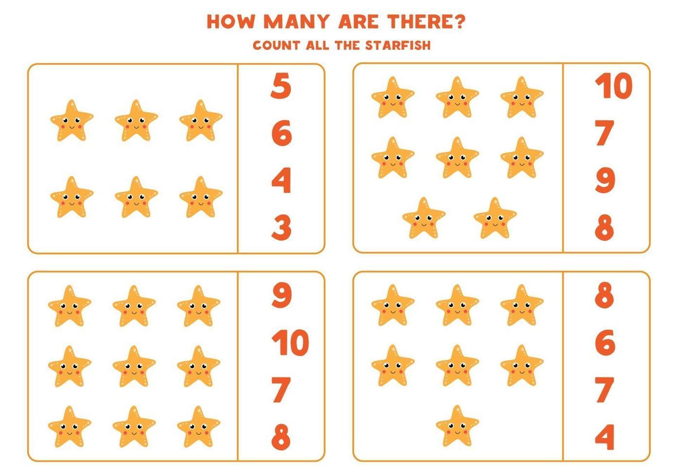 räknar matematikspel med söta tecknade havsstjärnor. vektor