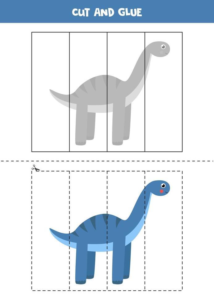 klipp och lim spel för barn. söt tecknad dinosaurie. vektor