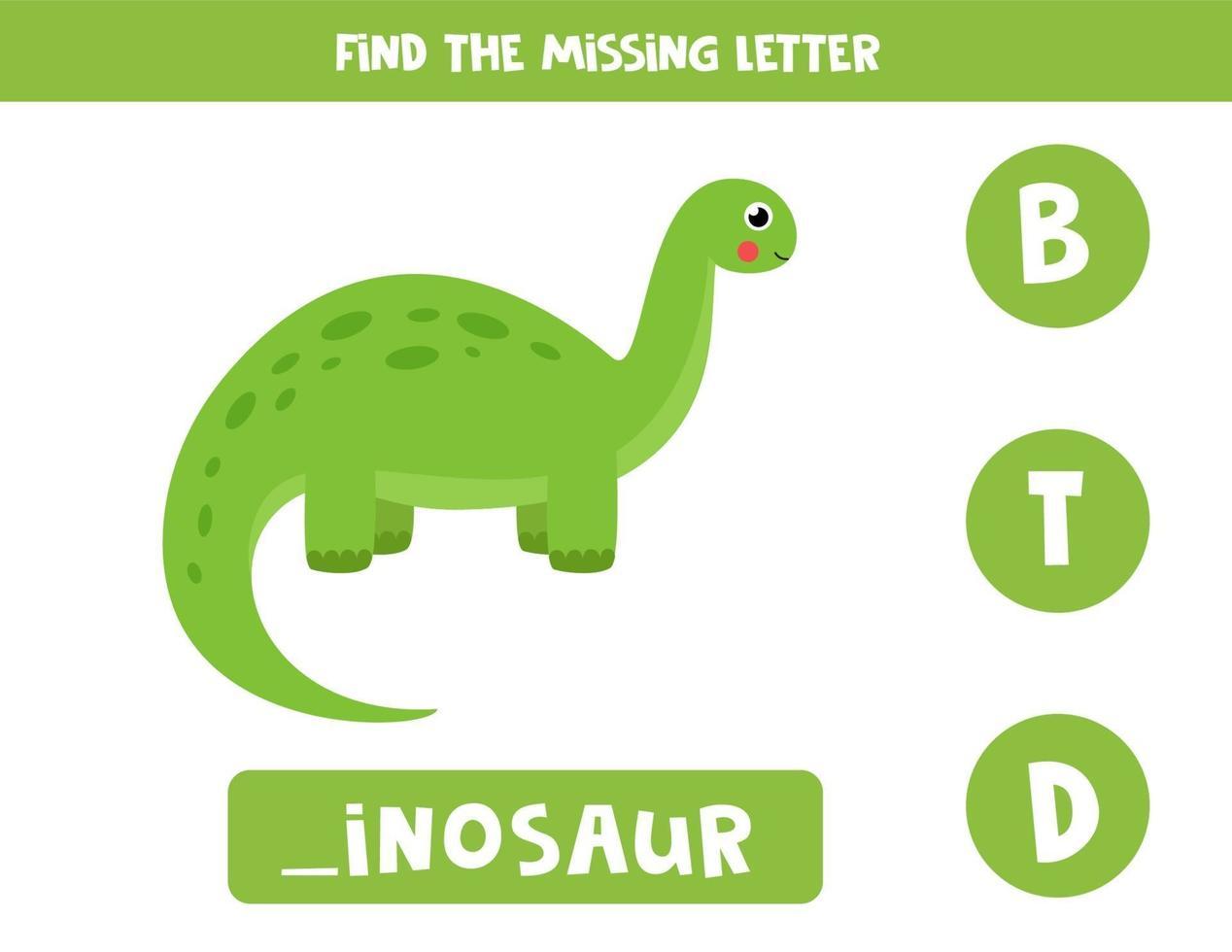 finde fehlenden Buchstaben mit Dinosaurier. Arbeitsblatt zur Rechtschreibung. vektor
