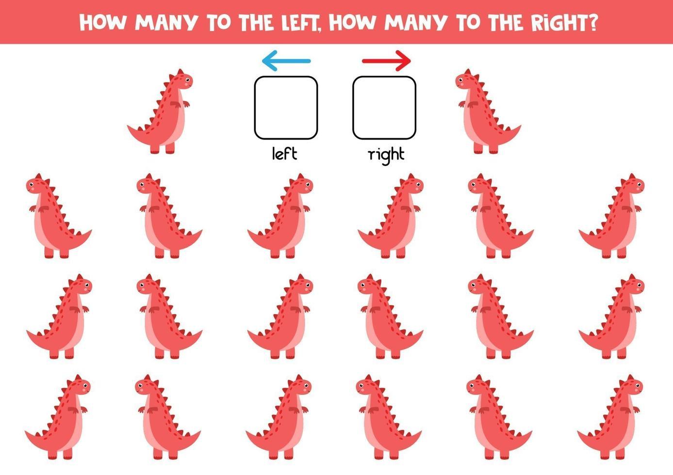 vänster eller höger med söt röd dinosaurie. logiskt kalkylblad för förskolebarn. vektor
