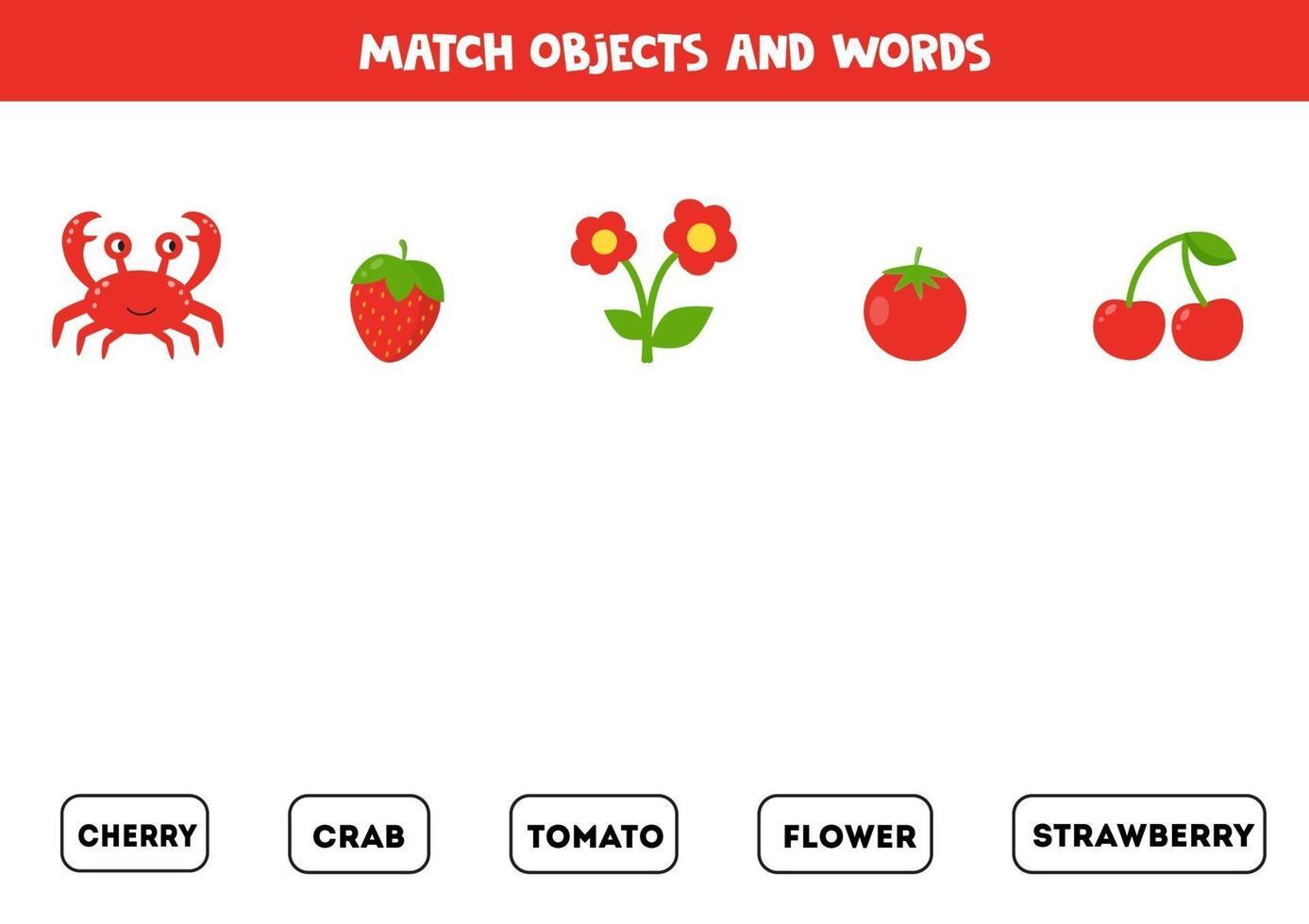 passendes Spiel mit bunten roten Objekten. logisches Spiel. vektor