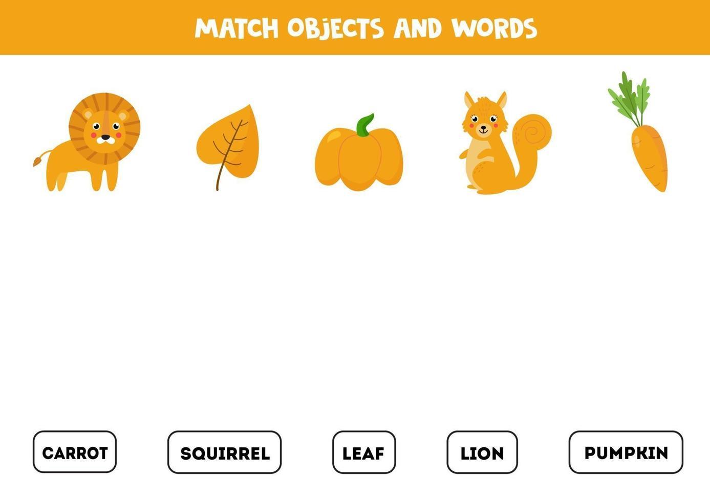 Matching-Spiel. Bilder mit bunten Bildern abgleichen. vektor