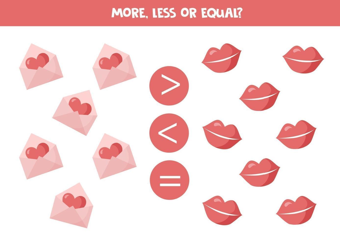 mer, mindre, lika med söta valentinelement. matematikspel. vektor