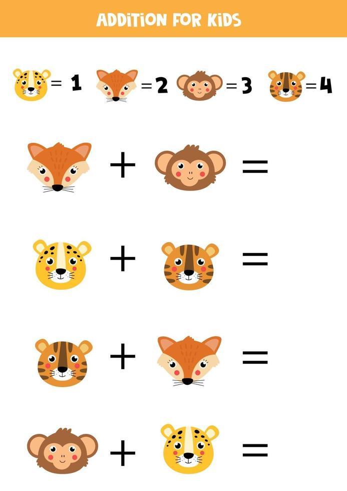 Löse die mathematische Gleichung. niedliche Comicgesichter von Tieren. vektor