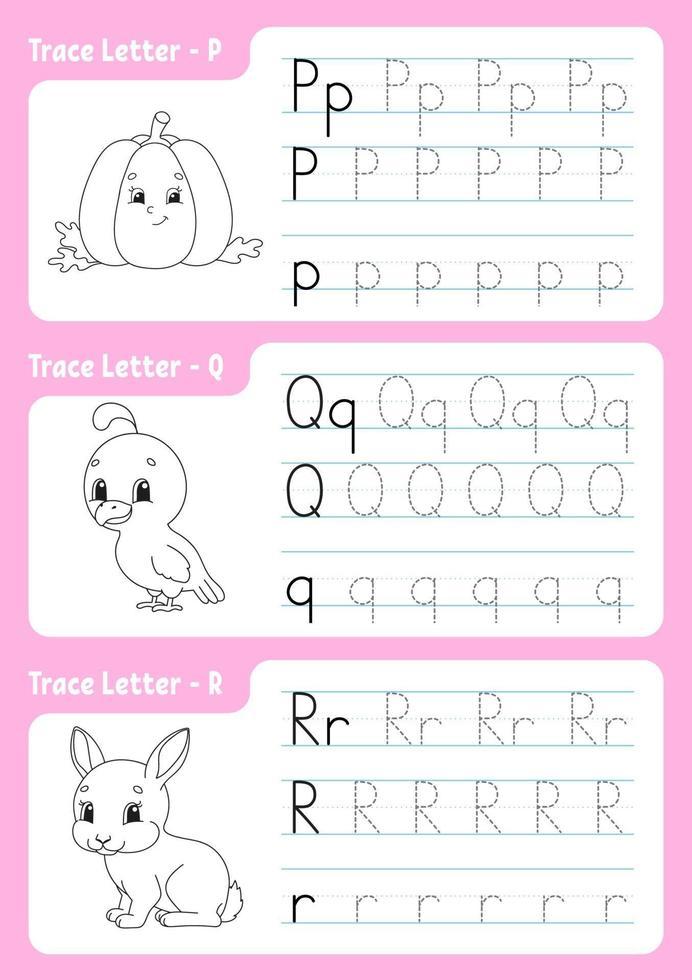 skriva bokstäver p, q, r. spårningssida. kalkylblad för barn. övningsark. lära sig alfabetet. söta karaktärer. vektor illustration. tecknad stil.