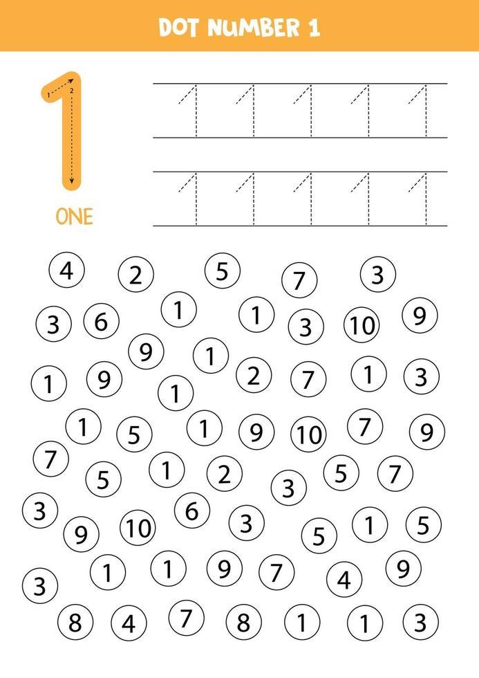 prick eller färg alla siffror 1. pedagogiskt spel. vektor