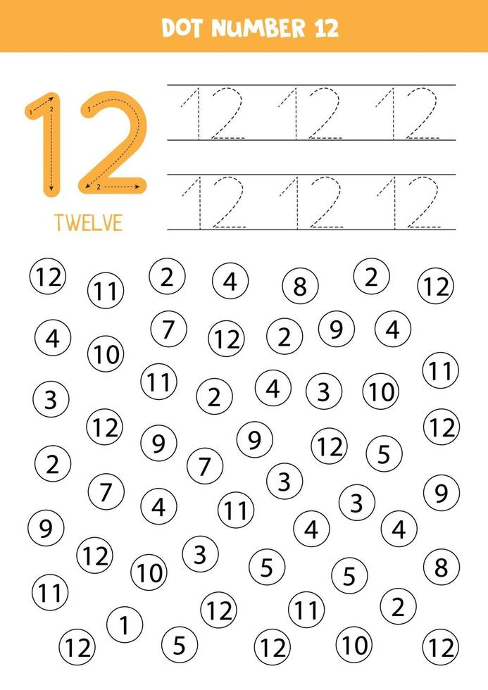 hitta och färg nummer 12. matematik spel för barn. vektor