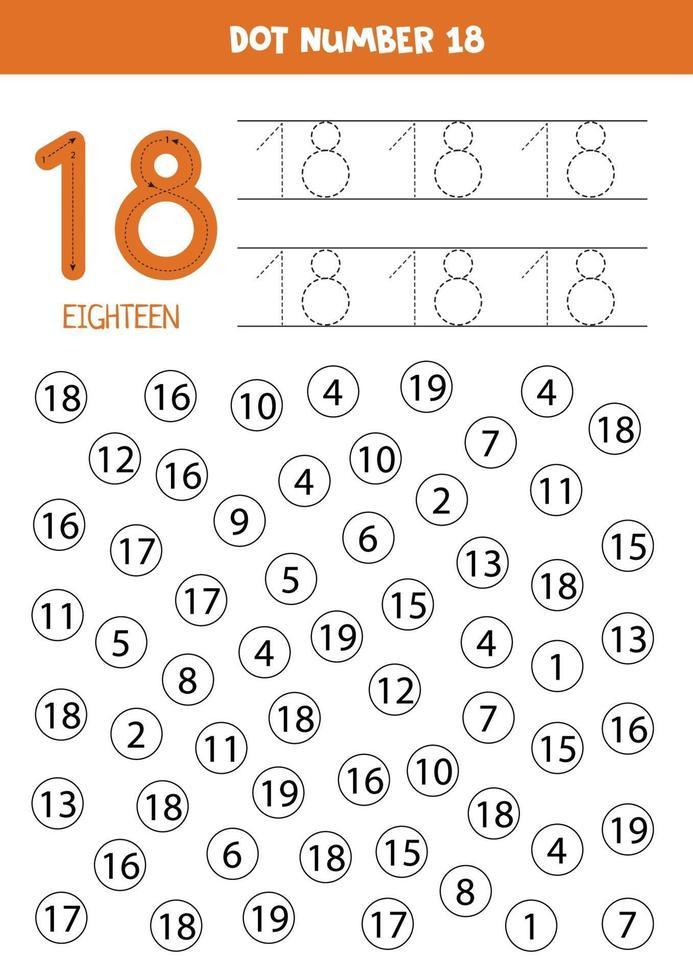 hitta och prick nummer 18. matematikspel för barn. vektor