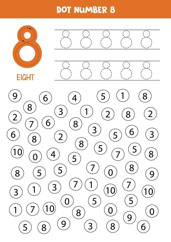 hitta och färg nummer 8. matematik spel för barn. vektor
