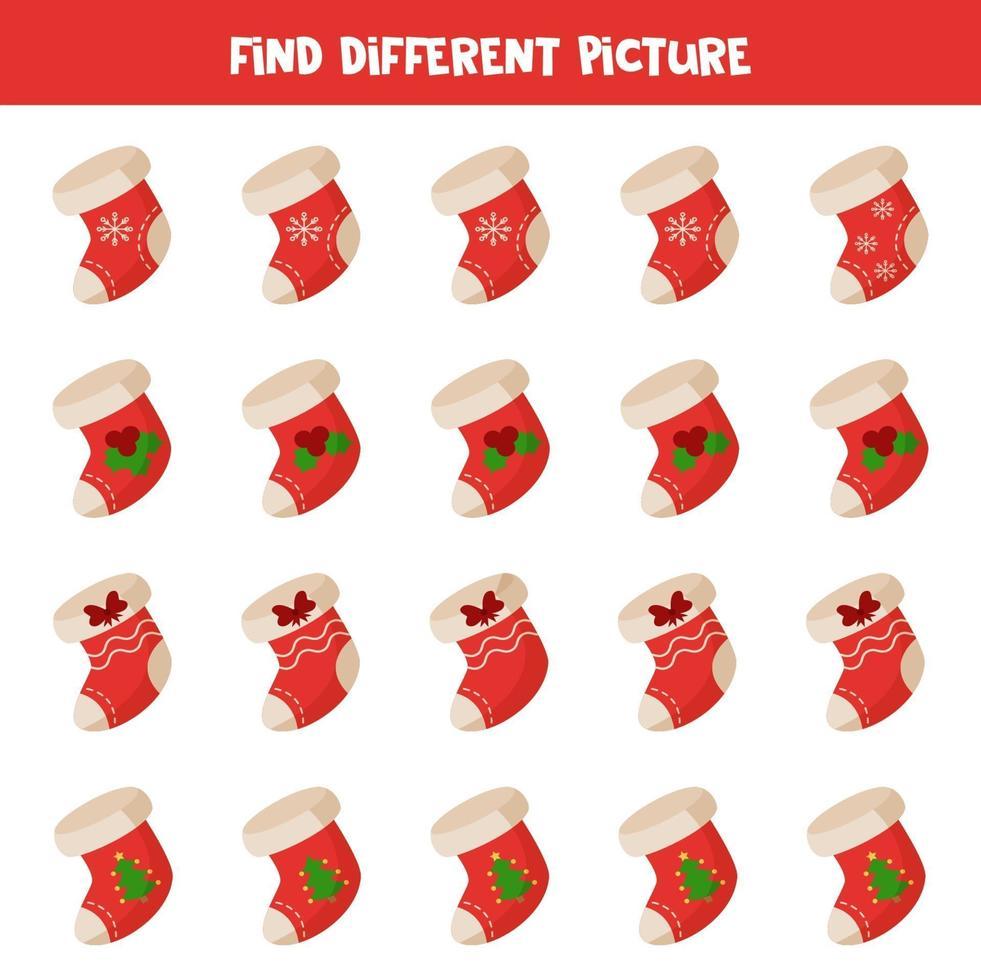 hitta julstrumpa som skiljer sig från andra i rad. vektor