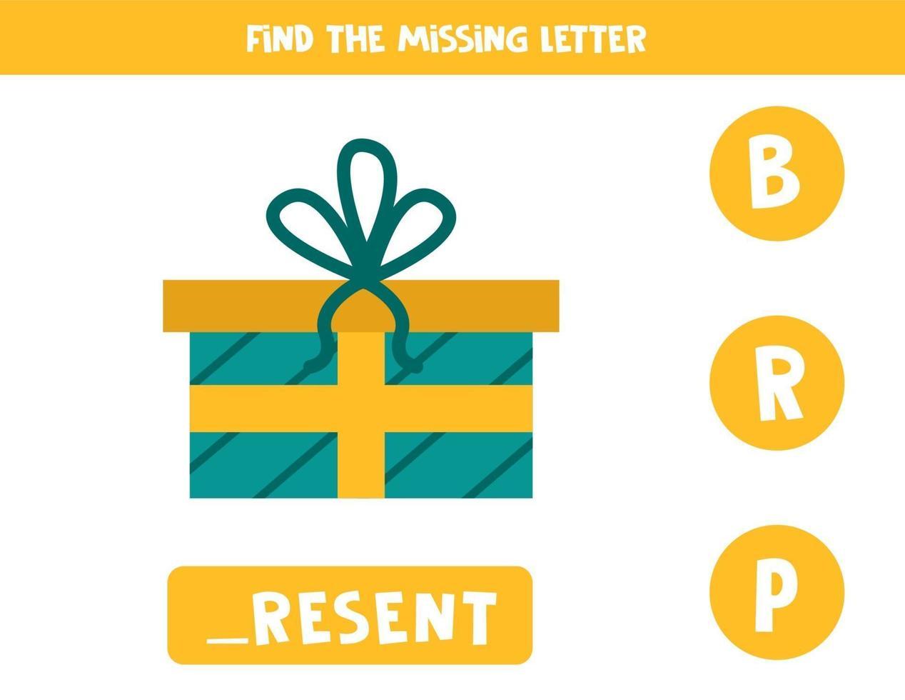 hitta saknad brev. söt tecknad nuvarande låda. vektor