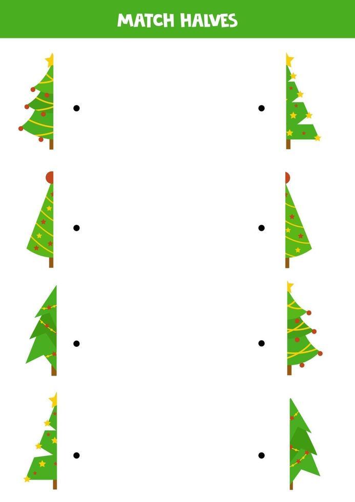 pusselspel för barn. matcha halvor av julgranar. vektor