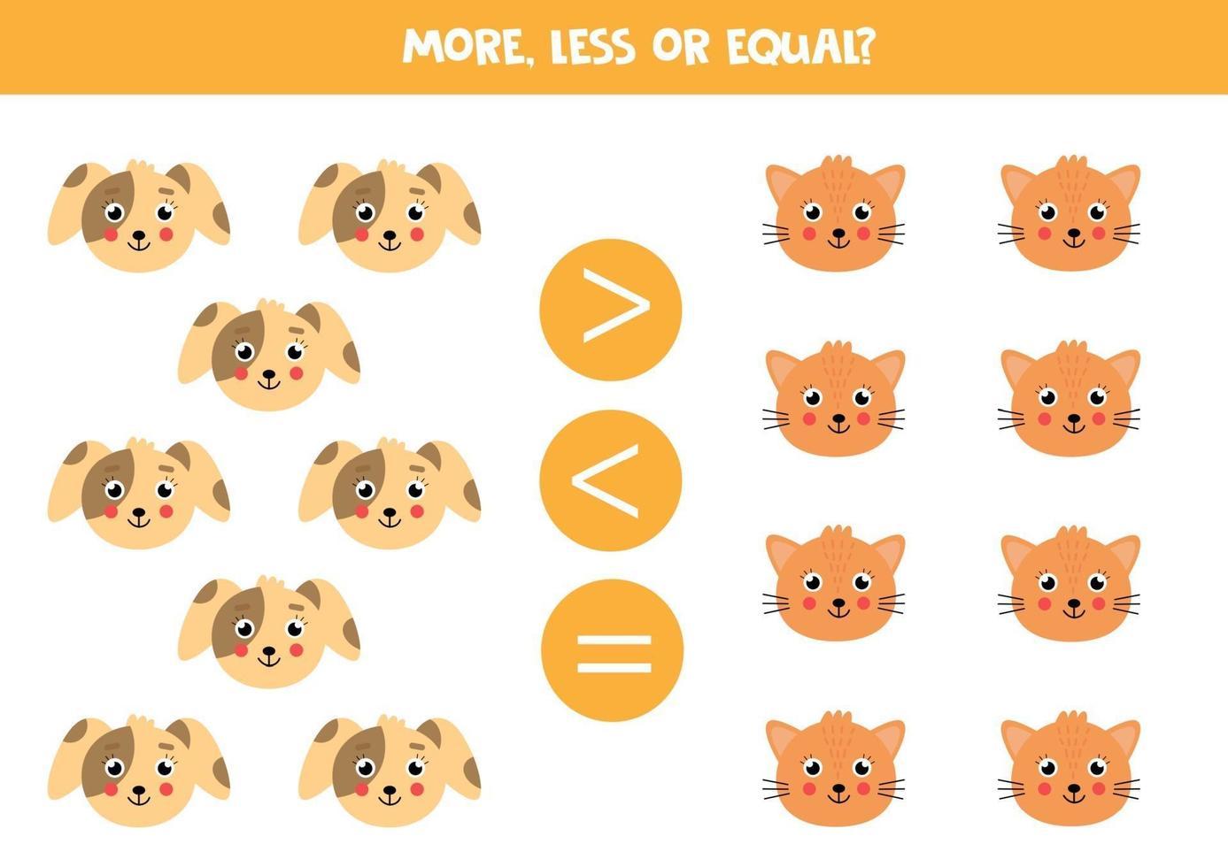 jämförelse för barn. mer, mindre med tecknad katt och hund ansikten. vektor