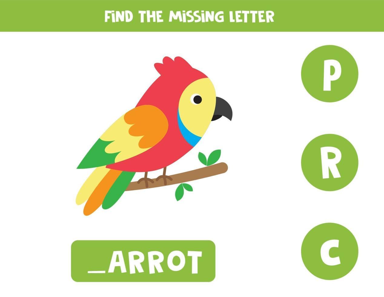 hitta den saknade bokstaven. söt färgglad papegoja. vektor