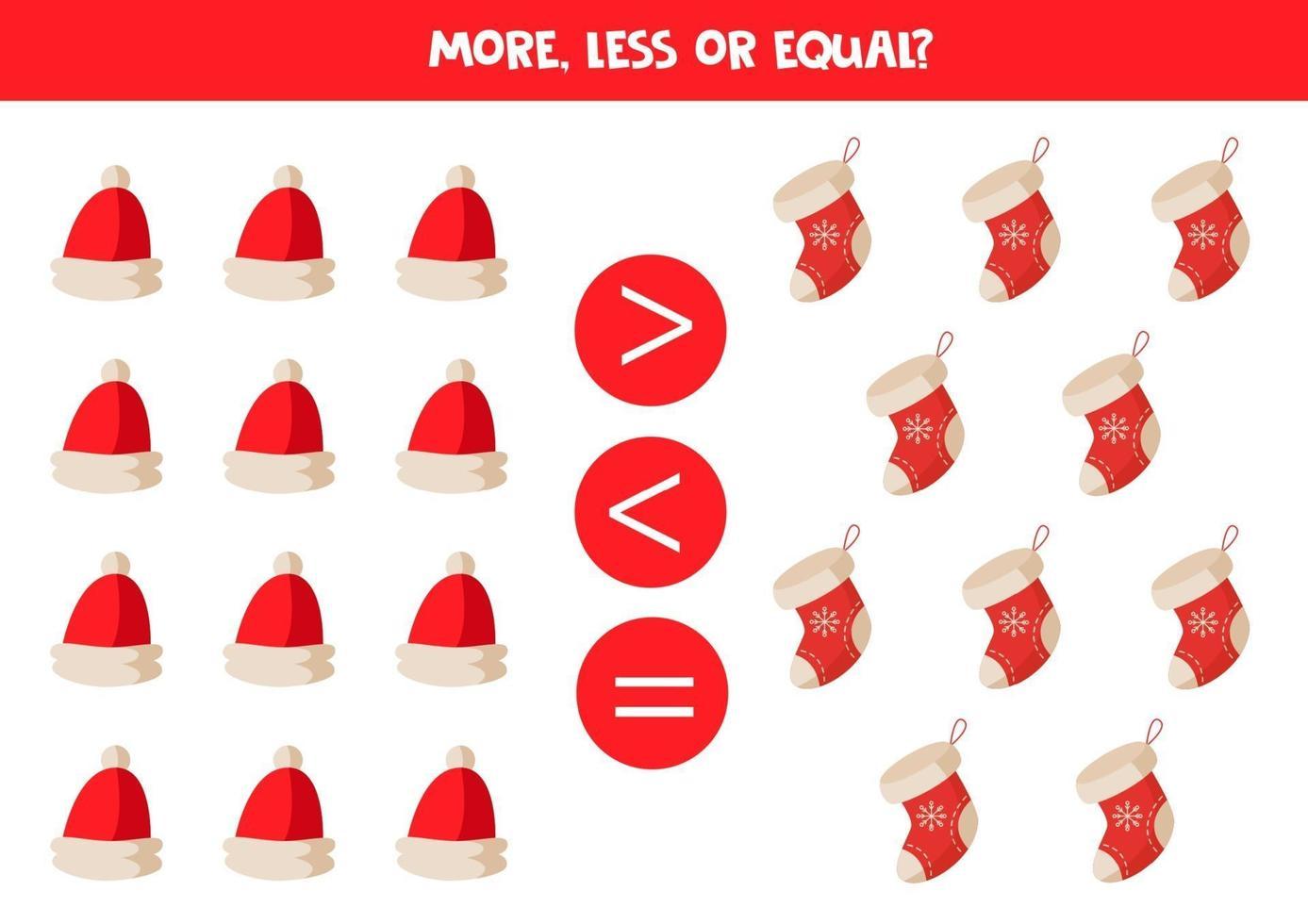 jämförelse av föremål för barn. mer, mindre med tecknade julkepsar och strumpor. vektor