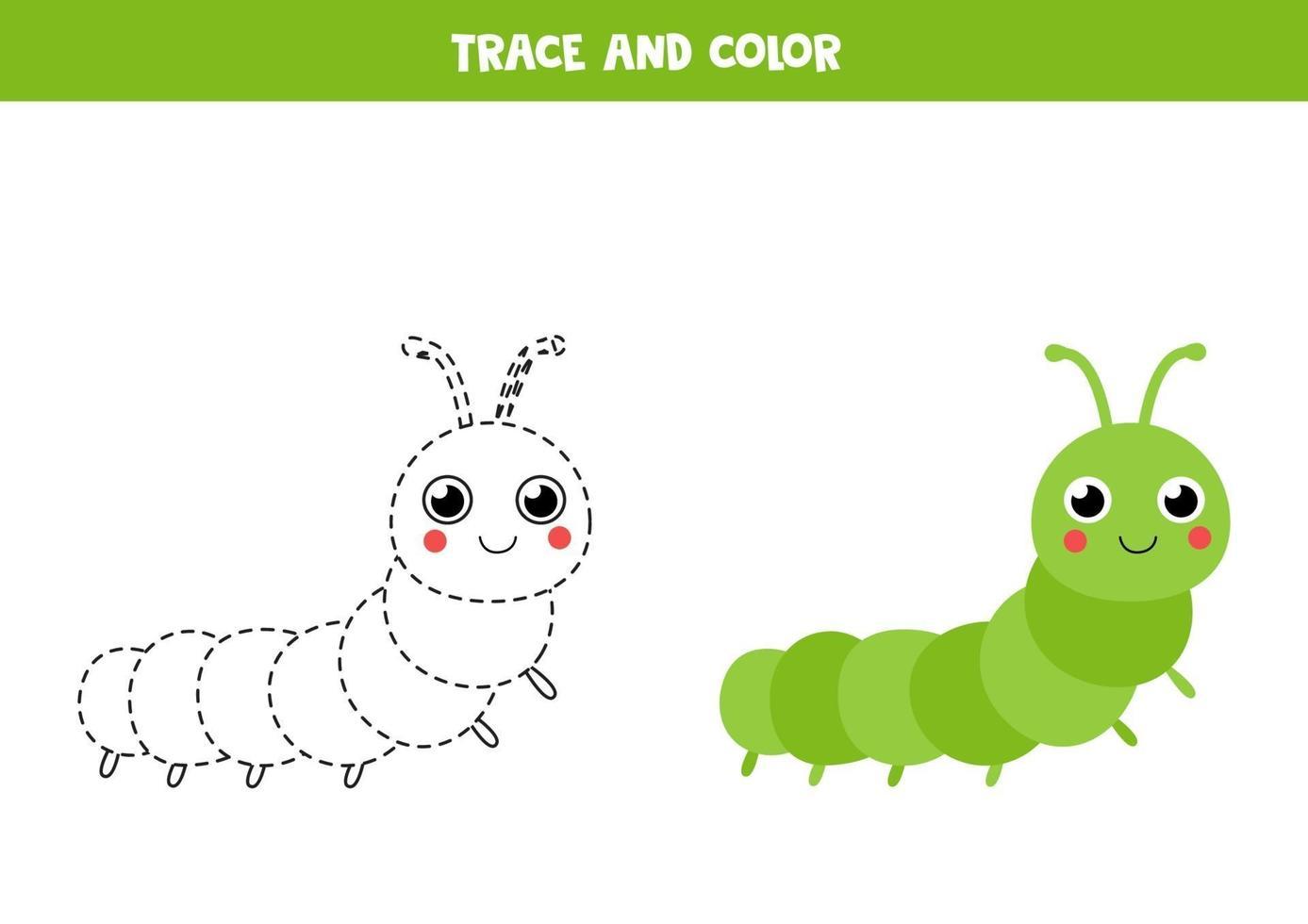 spåra och färg söt larv. spårningslinjer. vektor