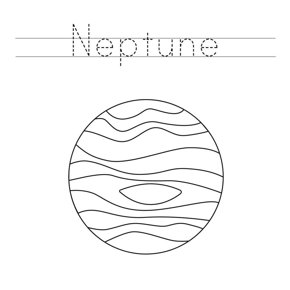 spåra bokstäver med planet neptun. skrivpraxis. vektor