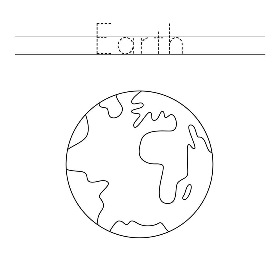 spåra bokstäver med planeten jorden. skrivpraxis. vektor